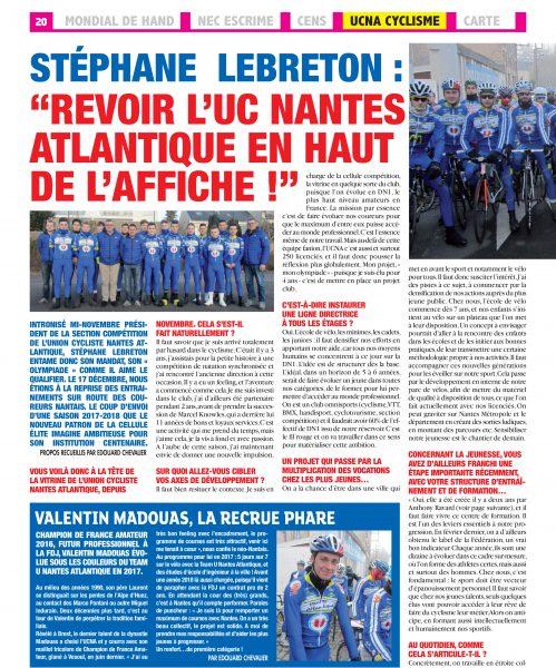 Le journal «Nantes Sport» à la rencontre de Stéphane Lebreton