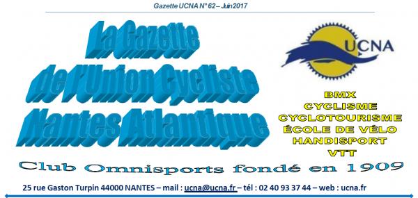 Newsletter « La Gazette de l'UCNA » numéro 62